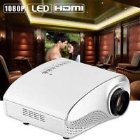 HD 1080P AV HDMI Home Cinema Theater Movie Multimedia LED Projector White EU MT