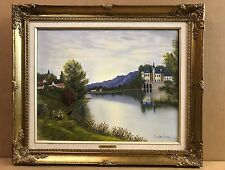 Europe Country Lake Flowers Girls 20X16 Sabrina Landscape Oil Painting Art Frame