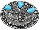 Western Design Eagle Belt Buckle Turquoise colors Eagle feathers Patriotic USA 7