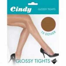 15 Denier Glossy Tights by Cindy Natural Shimmer Gloss Shine Appearance - M & L