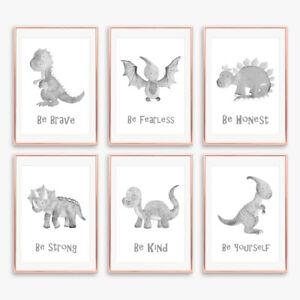 Grey Dinosaur Prints Set Childrens Boys Bedroom Wall Art Pictures Nursery Decor