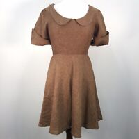 VTG Threadbeat Walnut Brown Linen Peter Pan Collar Midi Handmade Womens Dress