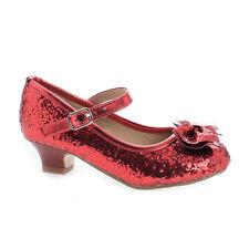 Quincy18 Children's Girl Chunky Glitter Rock Bow Mary Jane Heels