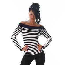 Sexy Carmen Pullover Schulterfreier Pullover gestreift Blau Weiß 34 36 38