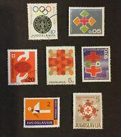 LOT OF 7 JUGOSLAVIJA YUGOSLAVIA POSTAGE STAMPS COLLECTED IN 1960'S OLYMPICS