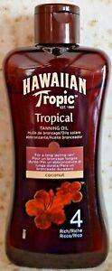 HAWAIIAN TROPIC TROPICAL TANNING OIL COCONUT SPF 4 RICH 200ML. NEW & UNUSED.
