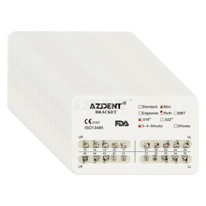 200X AZDENT Dental Orthodontic Metal Brackets Mini Roth Slot.018 Hooks 3-4-5