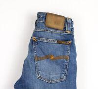 Nudie Jeans Femmes Étroit Lin Slim Jeans Extensible Taille W25 L32 APZ669