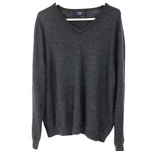 J. Crew Mens XL Gray 100% Merino Wool V Neck Sweater Adult Long Sleeve