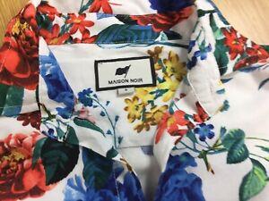 """Maison Noir White Floral Lightweight 100% Viscose Short Sleeve Shirt S Chest 40"""""""