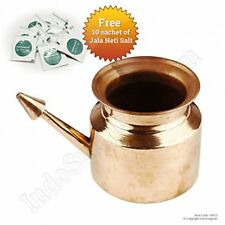 Pure Copper Jala Neti Pot For Sinus Irrigation 450 Ml With 10 Sachet Of Jala Ne