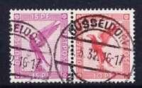 DR ZW22 Zusammendruck, schön gest. Düsseldorf 1932, ZD Flugpost Deutsches Reich