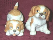 "Vintage 2 Springer Spaniel Homco Puppy Dog Figurines Tan White 1407 Porcelain 3"""