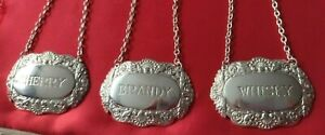 Vintage DECANTER LABEL x3 BRANDY + WHISKY + SHERRY Silver plated GREAT Gift UK