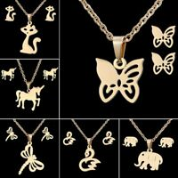 New Stainless Steel Animal Butterfly Pendant Chain Necklace Earrings Jewelry Set