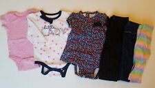 6 piece lot of 3-6 months baby girl clothes. 3 bodysuits, 3 pair of pants. used