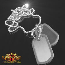 Army Style Dog Tags Chain Double Pendant W/Tracking  Stainless Steel Bead