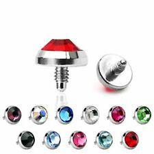 Dermal Anchor Top Lot Of 11Pc 3mm Mix Colors Flat CZ 16g Surgical Steel
