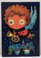 Christmas Angel Character Blinky Lenticular Eyes 1970's Postcard A13