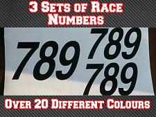 """3 conjuntos de 7"""" números de Carrera Motocross Mx Pegatina De Vinilo Bicicleta de pista Kart N11 180 mm"""