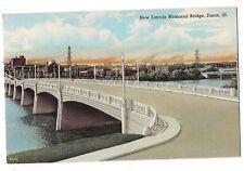 NEW LINCOLN MEMORIAL BRIDGE Dixon Illinois Postcard IL City in Background