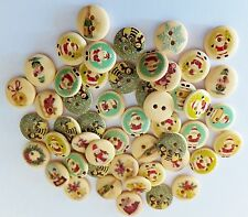50pcs Christmas Buttons, Cream, 2 Hole, Sewing-Cardmaking-15mm-UK