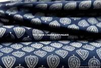 2.5 Yards Indigo Blue Cotton Voile Hand Block Print Fabric Natural Dyes Sanganer