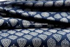 2.5 Yards Indigo Blue Cotton Voile Hand Block Print Fabric Natural Dyes Sanganer