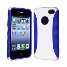 Hybrid Ribbed Case for iPhone 4 / 4S - Blue/White