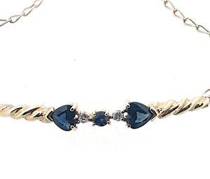 9k blue Sapphire and Diamond BRACELET_length 18cm_2 x heart shaped sapphires
