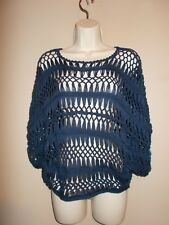 Sans Souci Womens Size S Navy Blue Open Weave Crochted Top Dolman Sleeves
