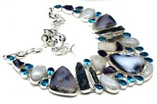 925 Sterling Silver Dendrite Agate & Topaz Gemstone Jewelry Necklaces S-17-18