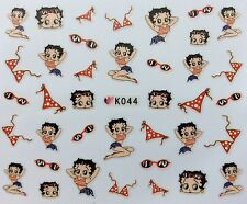 Nail Art 3D Decal Stickers Betty Boop Bikini Sunglasses Bathing Suit Summer K044