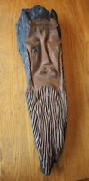Hand Carved Driftwood Wood Spirit Old Man Tree Face Vintage carving wall art 28""