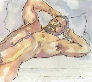 ORIGINAL LARGE MALE NUDE Watercolor - JOE - by GERMANIA