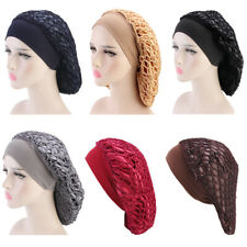 Women's Satin Mesh Elastic Night Sleep Cap Hair Cover Bonnet Hat Wide Band Wrap