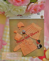 "Vintage Knitting Pattern Baby Girls 4 Piece ""Pixie"" Pram Set.  FREE UK P&P"
