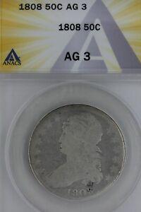 1808   50C ANACS AG 3  --    1800's Capped Bust Half Dollar, Miss Liberty, Bust