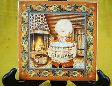 "Norwegian Tile Trivet Rosemaling ""The Lutefisk Boy"" Suzanne Toftey Wall Hanging"