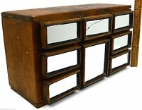 Vintage SIGNED FOLK ART CHEST of 8 DRAWERS! Crude Wood w/ MIRRORS! Jewelry SPICE
