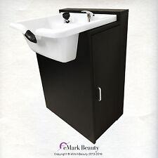 Extra Wide Plastic Salon Quality White Shampoo Bowl in Floor Cabinet TLC-W22-FC