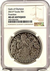 2021 Tuvalu $1 Gods of Olympus Poseidon Antiqued 1 oz Silver Coin - NGC MS 69