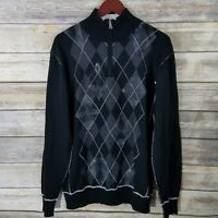 Buckle BKE Size L Sweater Black Gray LS 1/4 Zip Mock Neck Argyle Print Mens