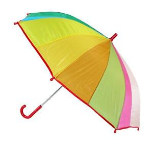 New CTM Kids' Rainbow Color Stick Umbrella with Hook Handle