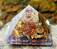 Crystal For Grounding - Large Golden Tigers Eye Orgone Orgonite Gemstone Pyramid