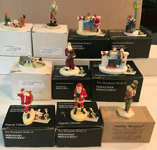 10 Assorted Vintage Sebastian Miniatures Santa / Christmas, All New in Boxes