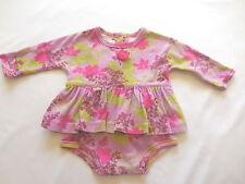 Baby Lulu LS Purple Floral Print Skirted Bodysuit Romper Dress, 6 mos.