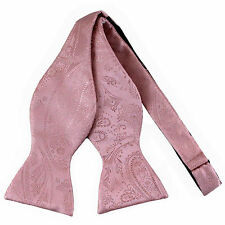 New men's self tie free style bowtie paisley polyester formal wedding Pink