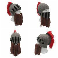 Helmet Red Tassel Roman Knight Beanie Masks Ski Cap Cosplay Beard Hats