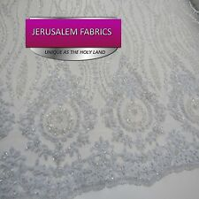 Classy bridal wedding beaded mesh lace white. sold by the yard.